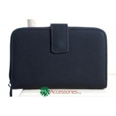 Дамско портмоне в черен цвят от еко кожа имитираща плат
