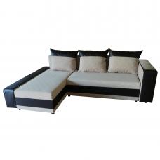 Разтегателен ъглов диван ANDOLI PM gepi, дамаска и еко кожа с 2 ракли и 3 големи възглавници