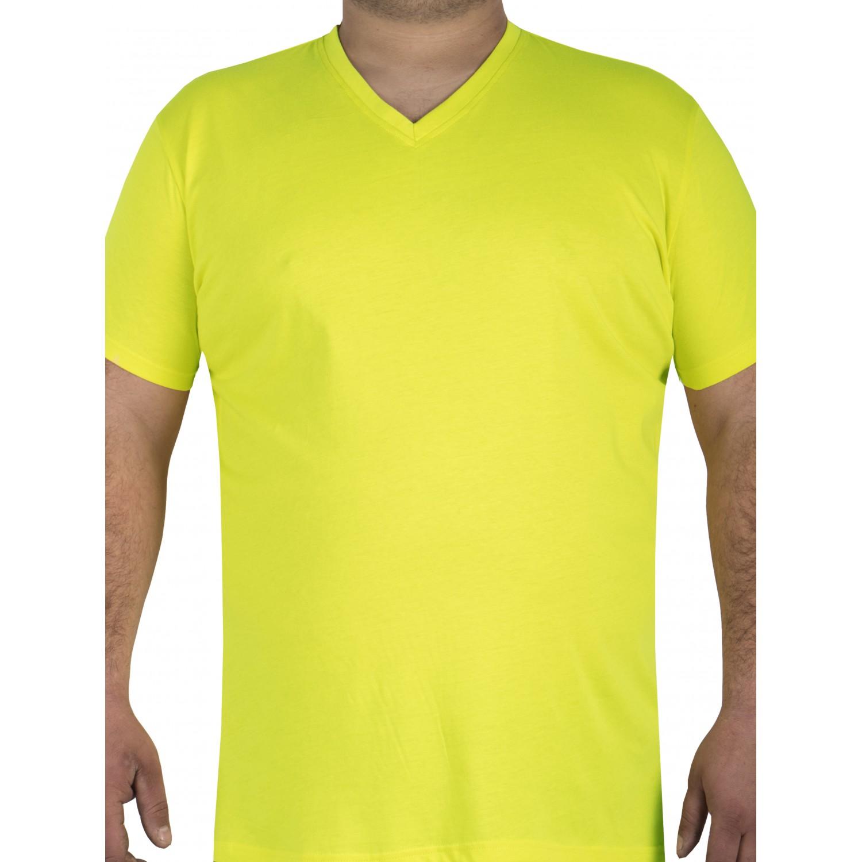 Big Shield Тениска за ловци класик, остро деколте сигнално жълто