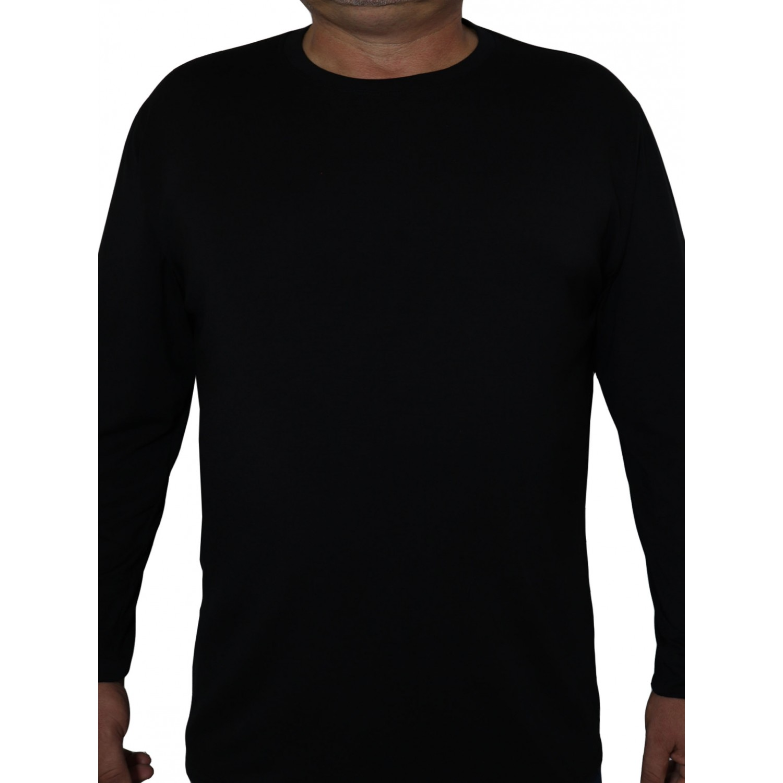 Big Shield Мъжка пролетна блуза с дълъг ръкав памук-ликра класик черно