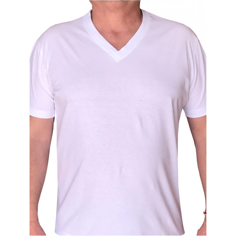 Тениска класик, остро деколте, различни цветове бяло, пениран шмергелован памук