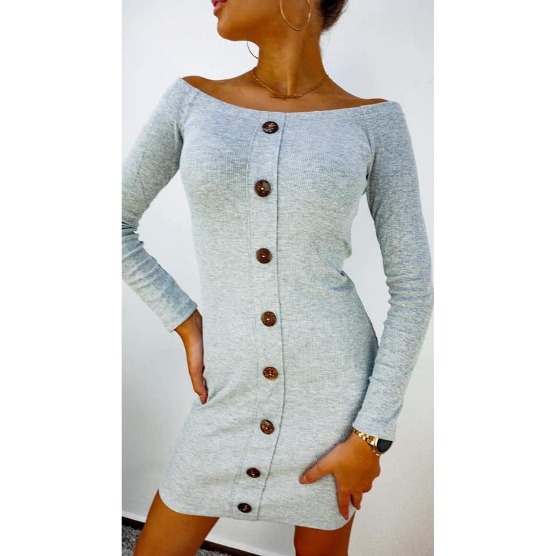 Памучна дамска рокля с копчета