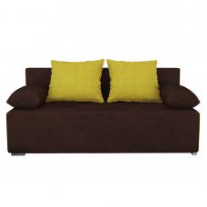 Разтегателен диван с ракла ANDOLI GALQ кафяв-жълт, С 2 броя големи и 2 броя подлакътни възглавници