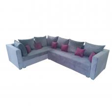 Разтегателен ъглов диван ANDOLI RELAX СИВ LO, Дамаска подвижни възглавници и с две ракли