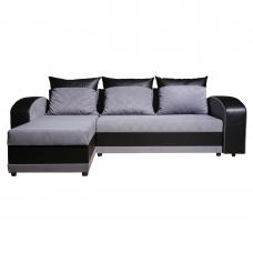 Разтегателен ъглов диван ANDOLI ADRIAN siv , дамаска и еко кожа с 2 ракли и 3 големи възглавници