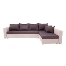 Разтегателен ъглов диван ANDOLI ALINA kafqv, дамаска и еко кожа с 2 ракли