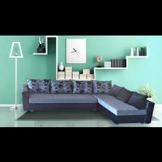 Разтегателен ъглов диван ANDOLI ALINA siv-bl, дамаска и еко кожа с 2 ракли