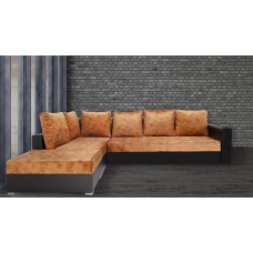 Разтегателен ъглов диван ANDOLI ANDI gold, дамаска и еко кожа с 3 ракли и табуретка