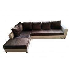 Разтегателен ъглов диван ANDOLI ANDI ramada cacao java, дамаска и еко кожа с 3 ракли и табуретка