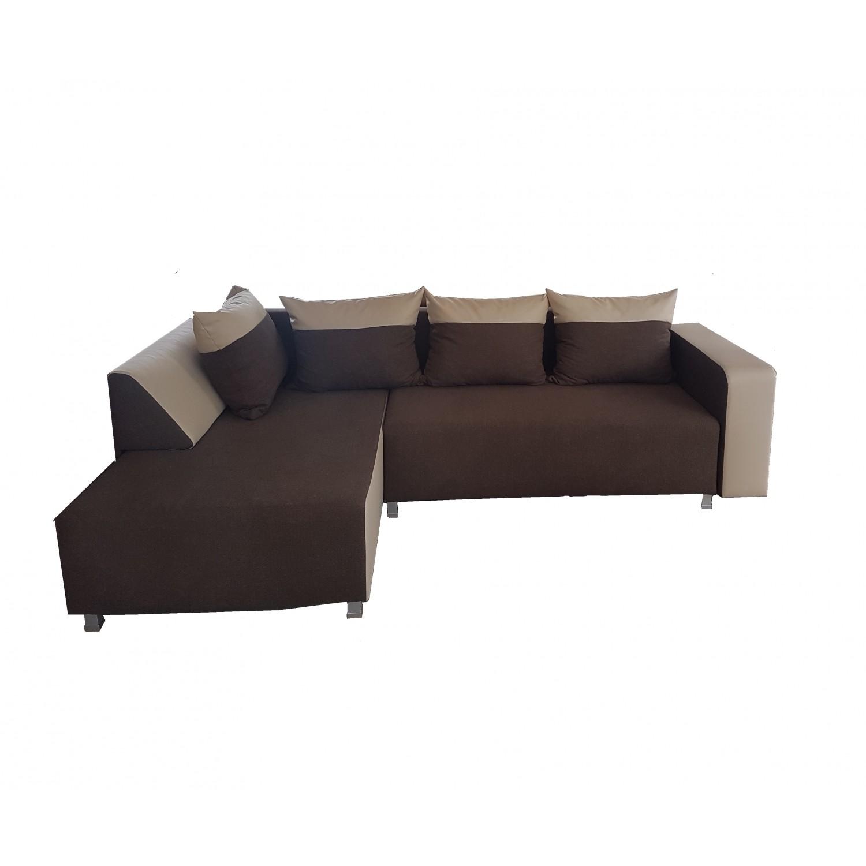 Разтегателен ъглов диван ANDOLI SOFI krem, дамаска и еко кожа с 1 ракли и 3 големи възглавници и 2малки