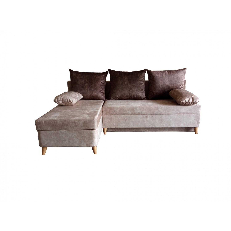 Разтегателен ъглов диван ANDOLI DANI ramada cacao java дамаска с ракла и три броя възглавници