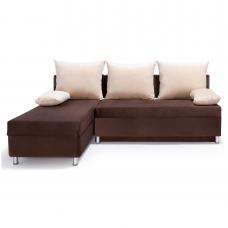 Разтегателен ъглов диван ANDOLI DANI braw дамаска с  ракла и три броя възглавници