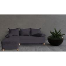 Разтегателен ъглов диван ANDOLI DANI ramada bash black дамаска с ракла и три броя възглавници