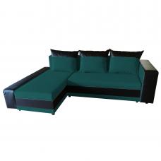 Разтегателен ъглов диван ANDOLI PM gepi, дамаска и еко кожа с 2 ракли и 3 големи възглавници - petrol
