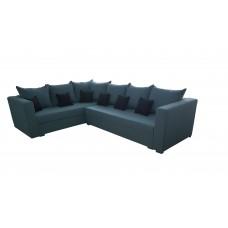 Разтегателен ъглов диван ANDOLI RELAX blue look Дамаска подвижни възглавници и с две ракли
