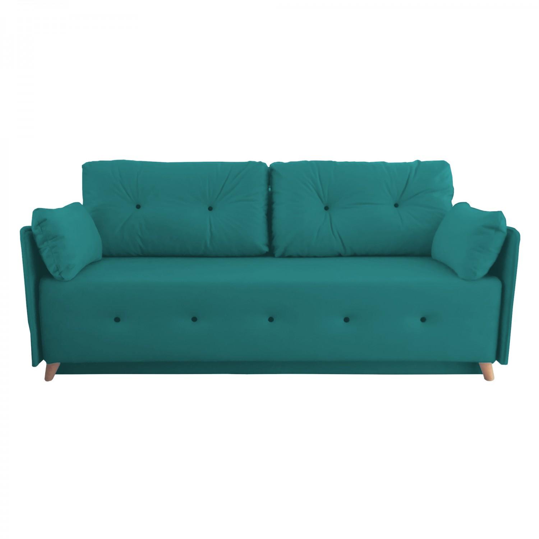 Разтегателен диван с ракла ANDOLI MAGI DK BLUE LT WFS, дамаска , с 2 броя големи възглавници и 2бр. малки