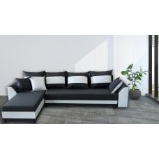 Разтегателен ъглов диван ANDOLI KARINA Gray Дамаска, подвижни възглавници и с две ракли