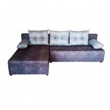 """Разтегателен ъглов диван """"ANDOLI"""" Tino dk gray дамаска с ракла и три броя големи възглавници"""