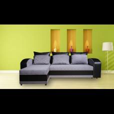Разтегателен ъглов диван ANDOLI ADRIAN siv, дамаска и еко кожа с 2 ракли и 3 големи възглавници