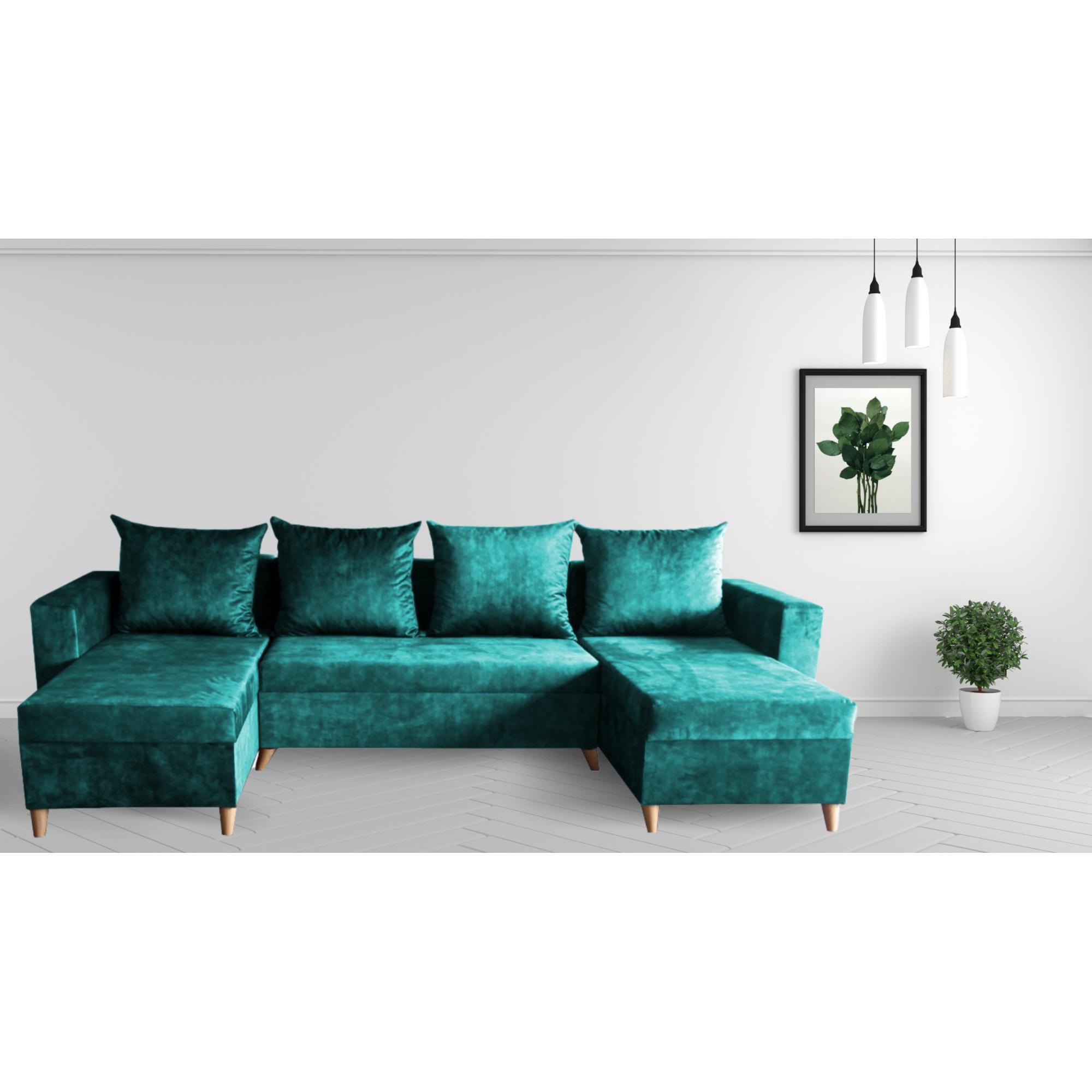 Разтегателен ъглов п-образен диван ANDOLI Promo-M ramada blue PO дамаска с 3 ракли и 4 бр възглавници