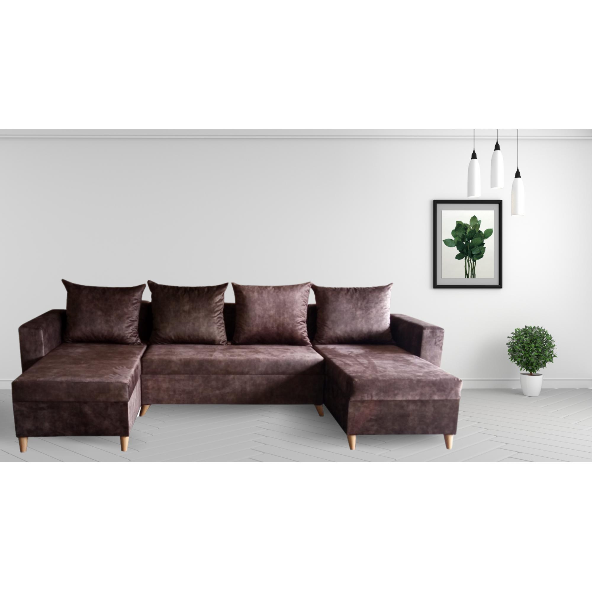 Разтегателен ъглов п-образен диван ANDOLI Promo-M ramada java PO дамаска с 3 ракли и 4 бр възглавници