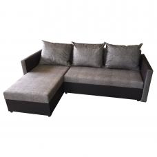 Разтегателен ъглов диван ANDOLI Promo-GERI, дамаска и еко кожа с 2 ракли