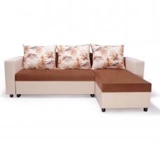 Разтегателен ъглов диван ANDOLI Promo-M BR PC, дамаска и еко кожа с 2 ракли 3 възглавници
