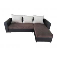 Разтегателен ъглов диван ANDOLI Promo-M DK BR , дамаска и еко кожа с 2 ракли 3 възглавници