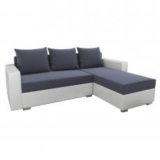 Разтегателен ъглов диван ANDOLI Promo-M GREY LO, дамаска и еко кожа 2 ракли 3 възглавници