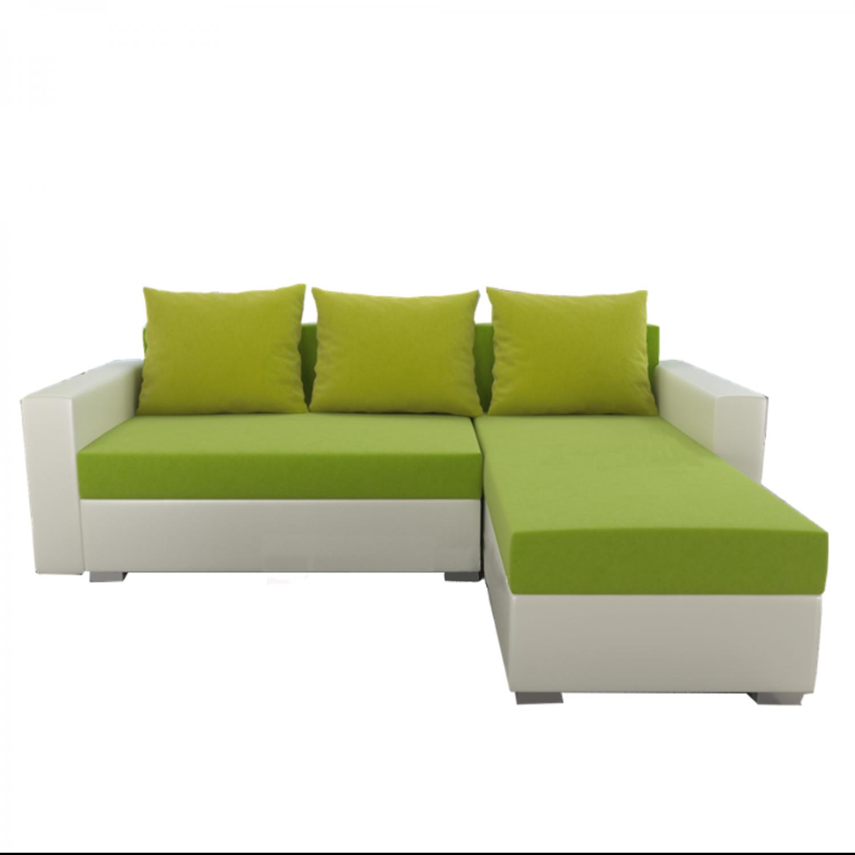 Разтегателен ъглов диван ANDOLI Promo-M KIWI LO, дамаска и еко кожа 2 ракли 3 възглавници