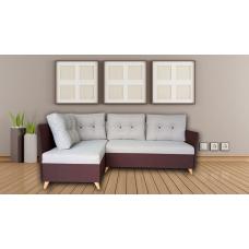 Разтегателен ъглов диван ANDOLI Vegas, gray дамаска, с 2 ракли и 5 броя големи възглавници