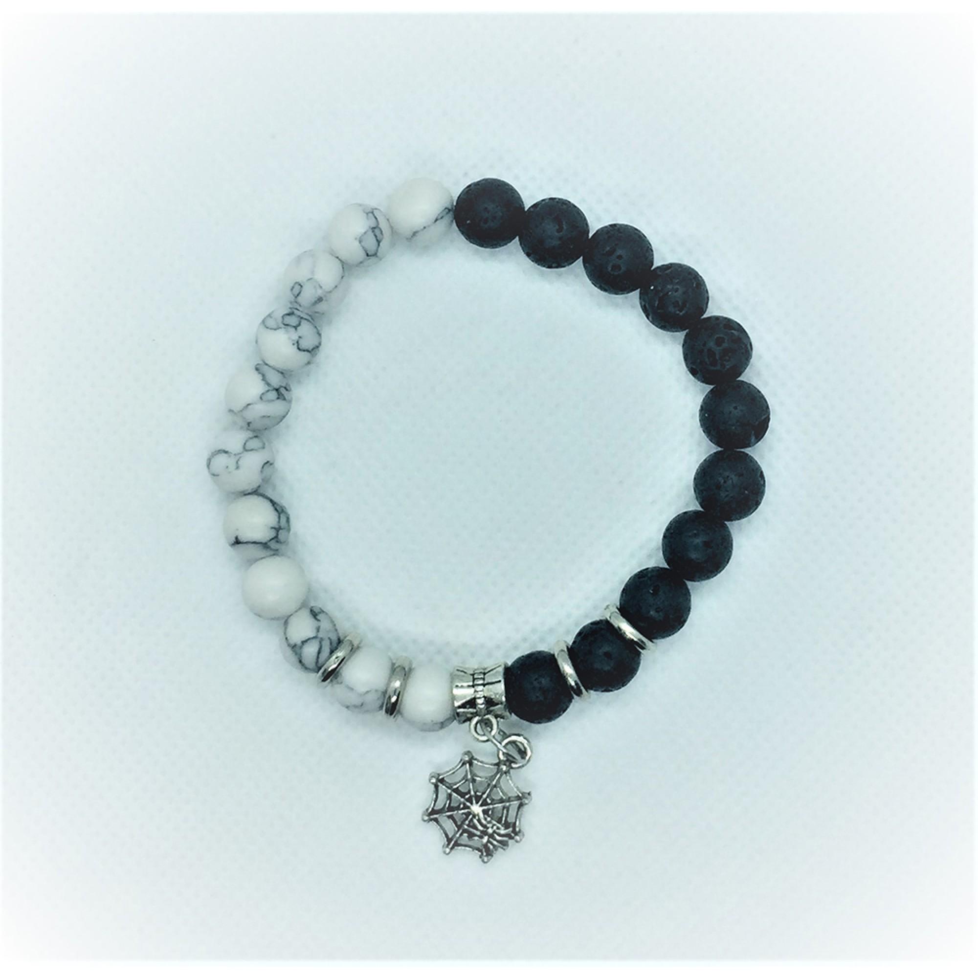 Мъжка гривна с хаулит и лава Black & White