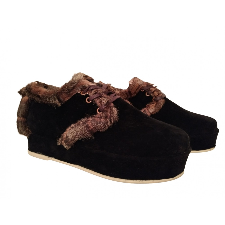 Дамски велурени обувки с пух на платформа 663