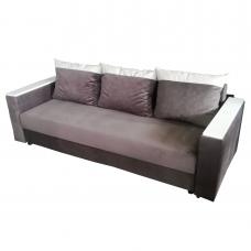 Разтегателен диван с ракла ANDOLI- Leo кафяв дамаска и еко кожа  с 3 броя големи възглавници и два бр. подлакътници