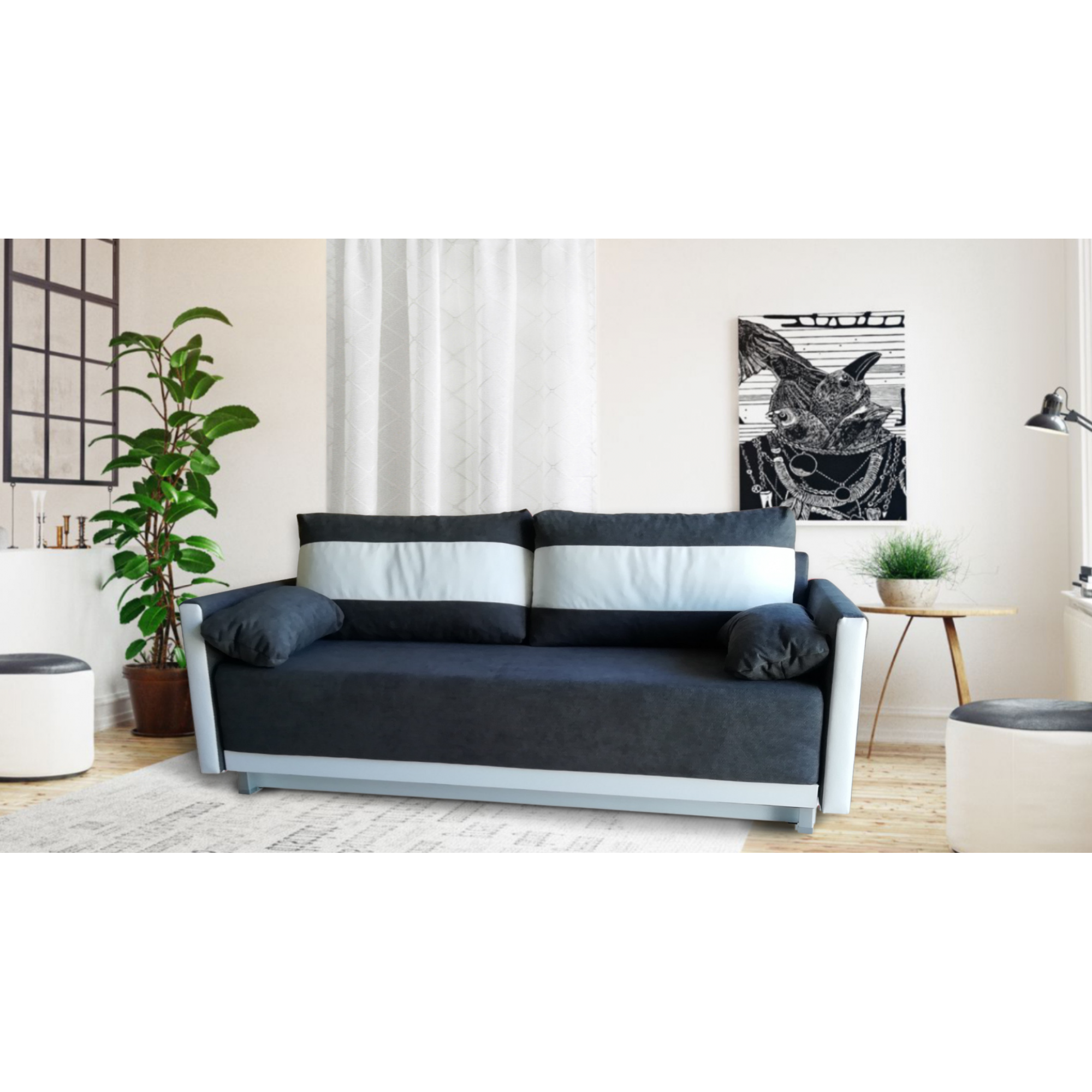 Разтегателен диван с ракла ANDOLI GeRi DK GREY WFS дамаска, с 2 броя големи възглавници и 2 бр. малки