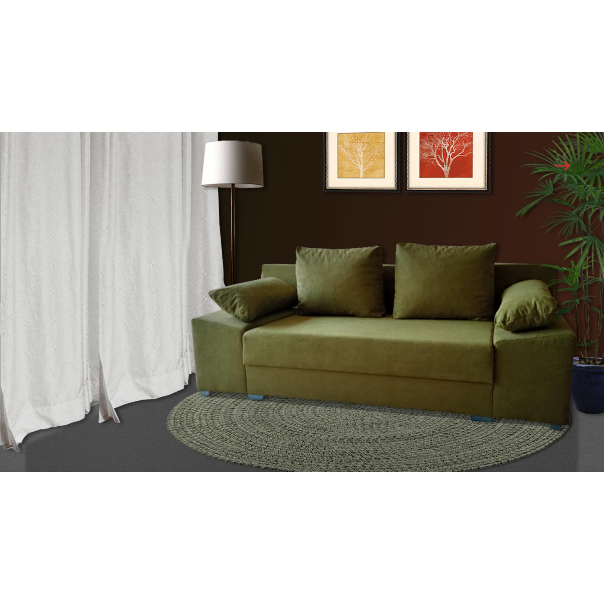 Разтегателен диван с ракла ANDOLI Gandi pistacho, С 2 броя големи и 2 броя подлакътни възглавници
