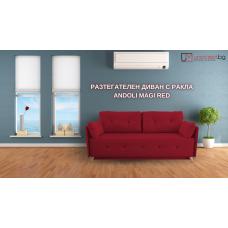 Разтегателен диван с ракла ANDOLI MAGI  RED LT WFS, дамаска , с 2 броя големи възглавници и 2бр. малки